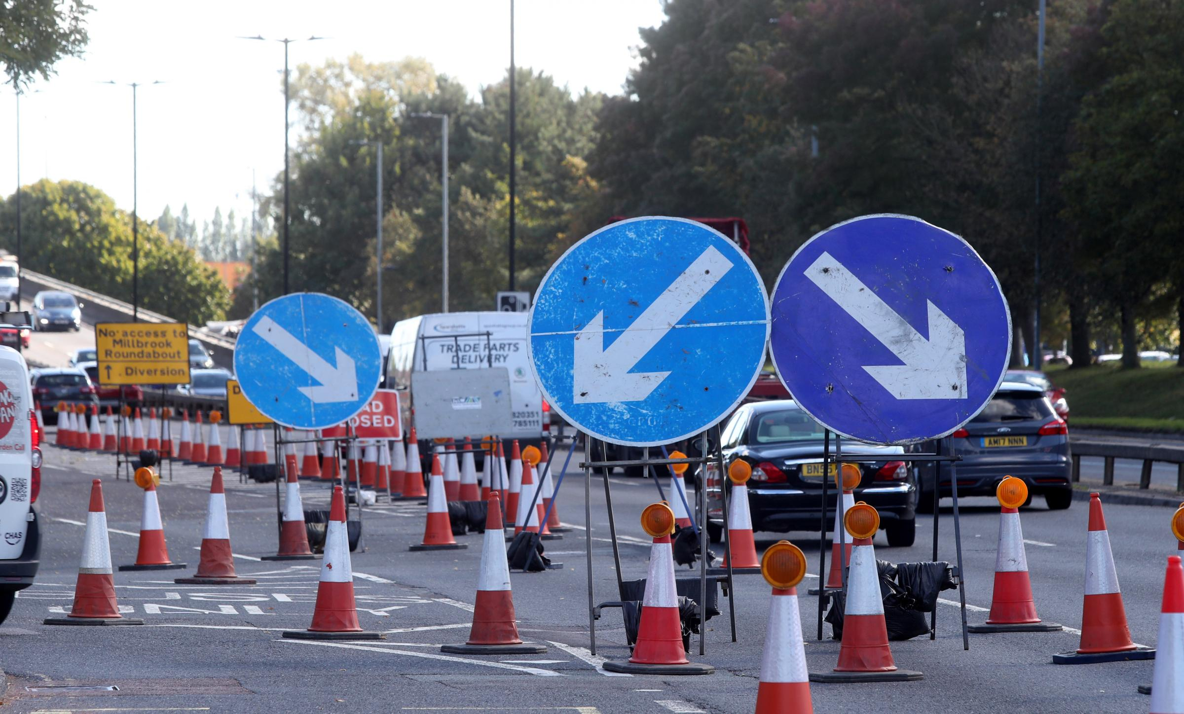 Roadworks at Millbrook Roundabout.
