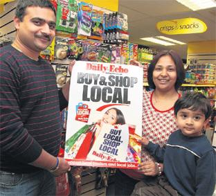 SHOP SUPPORT: Siddharth Patel with his wife Neha Patel and their son Bhavya of T & M Stores Viney Avenue Romsey