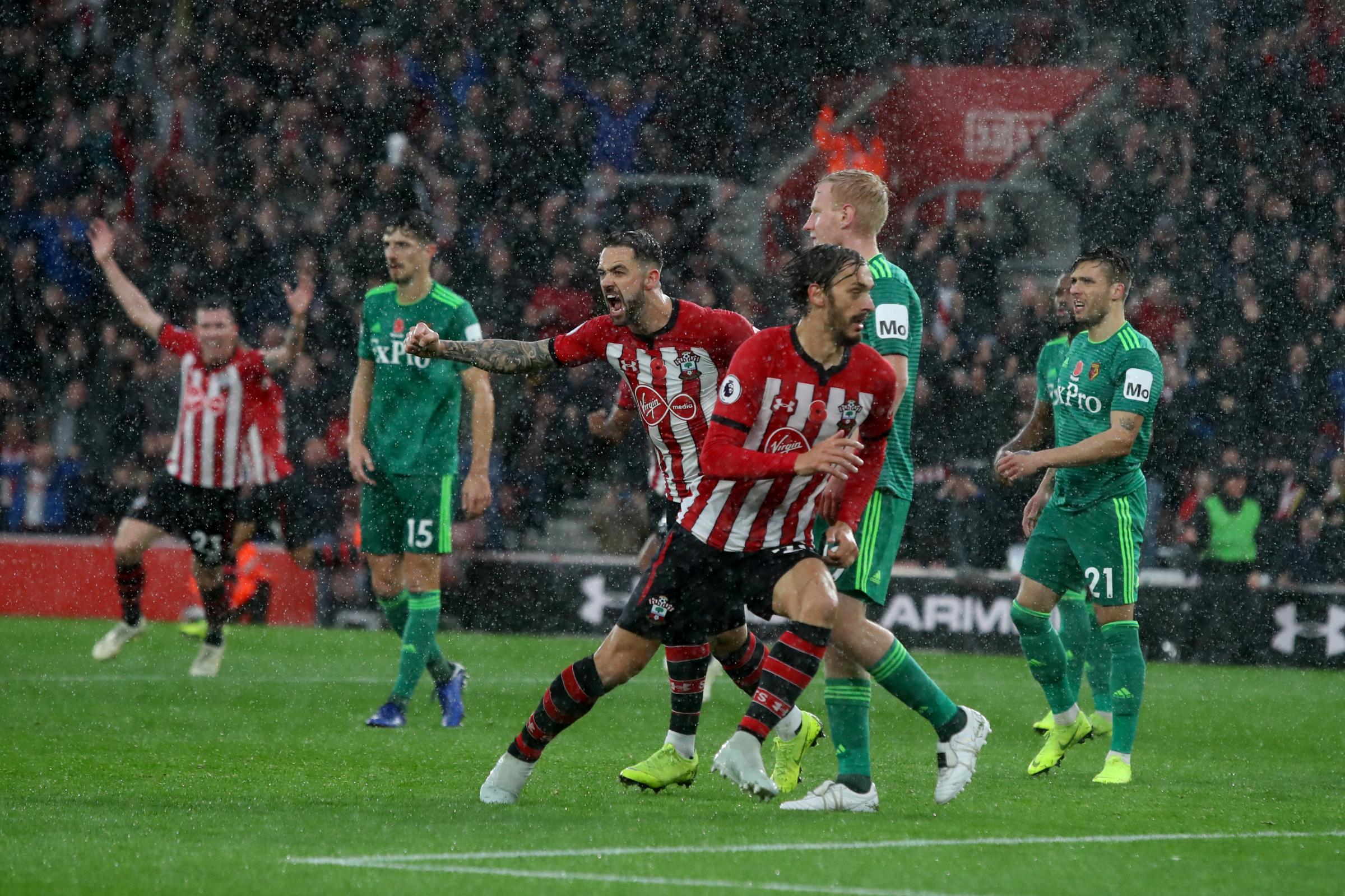 Manolo Gabbiadini celebrates his last Saints goal, against Watford in November
