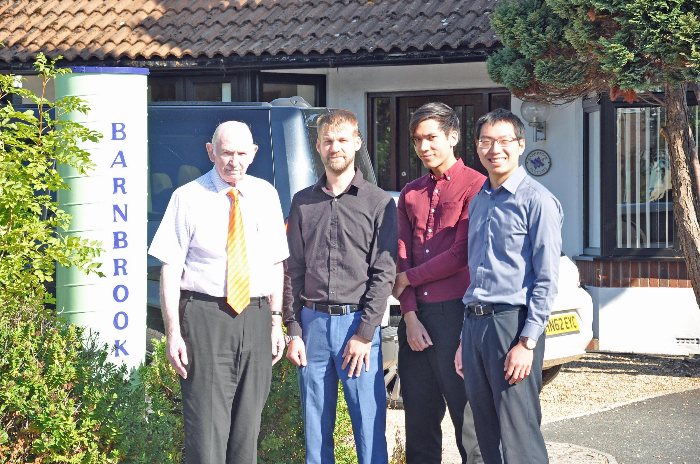 From left: Barnbrook Systems managing director Tony Barnett,  electronic engineering graduate Joe Stokes, electronic engineering graduate Kevin Jimenez and graduate engineer Jack Wei