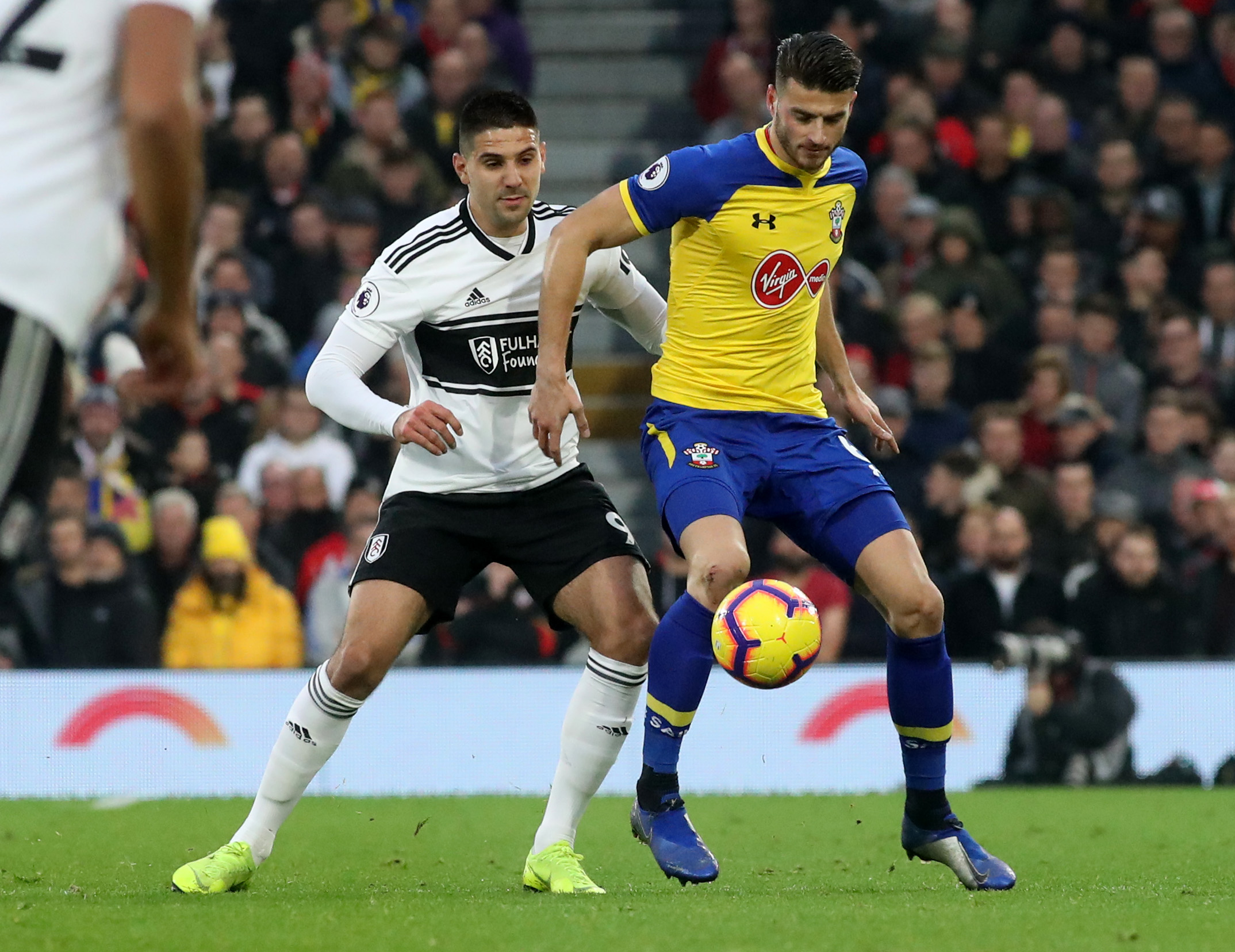 Wesley Hoedt during his last appearance for Saints at Fulham in November
