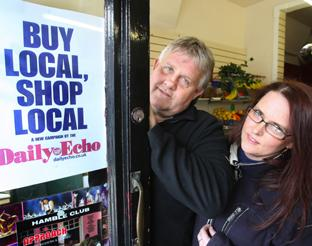 BACKING: Woolston traders supporting the Shop Local campaign, Chris Maunder and Carey Turner at Woolston Fruit and Veg. Echo picture by Malcolm Nethersole. Order no:  8291045