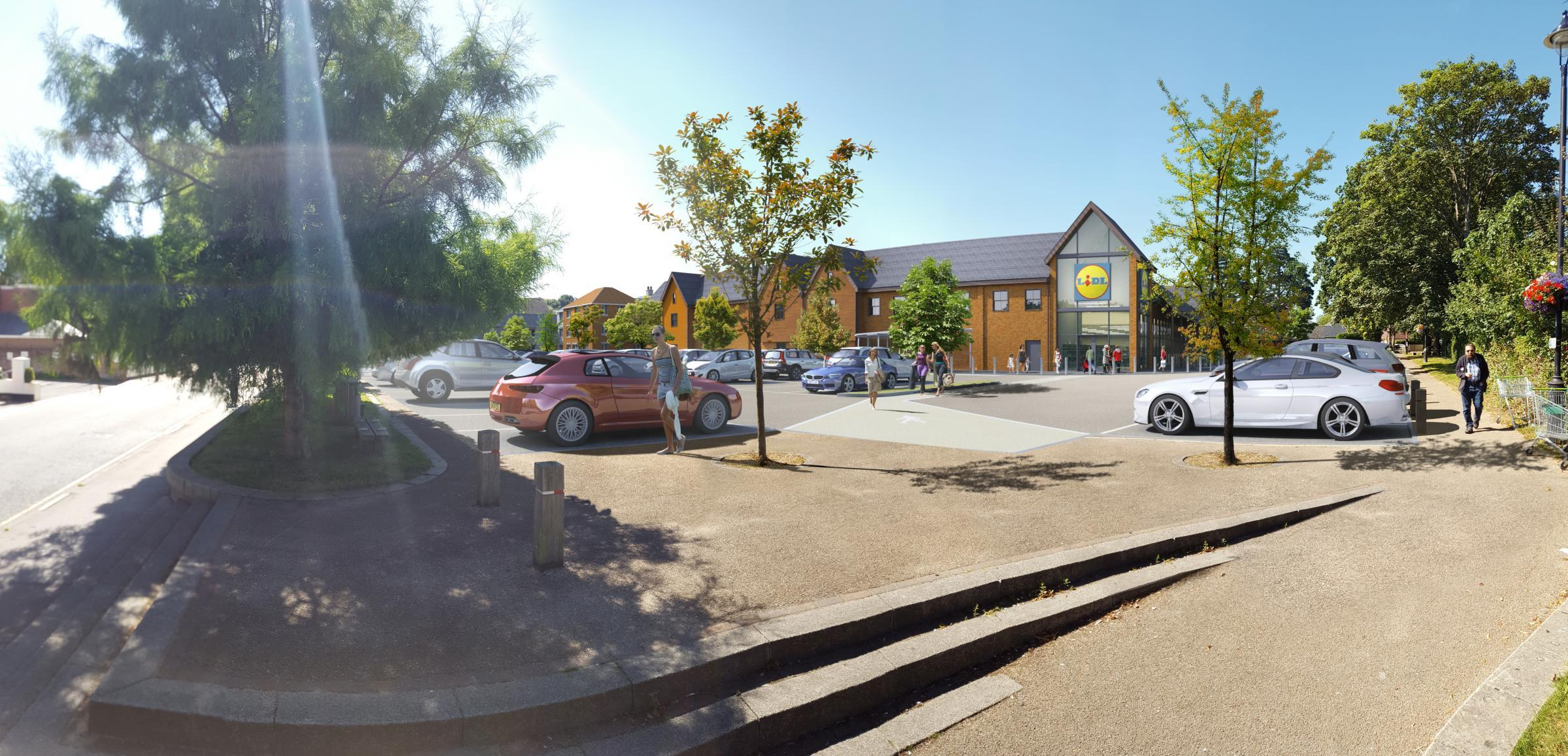 An artist's impression of the new Lidl store due to open in Hythe next year.