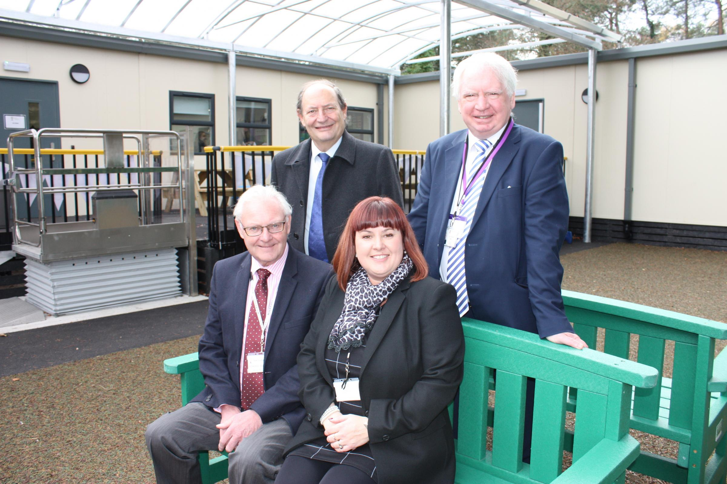 Oak Lodge Expansion - Front (L-R): Mike Robinson, Chair of Governors, Sharon Burt, Head Teacher. Rear (L-R): Cllr Keith Mans, Cllr Stephen Reid