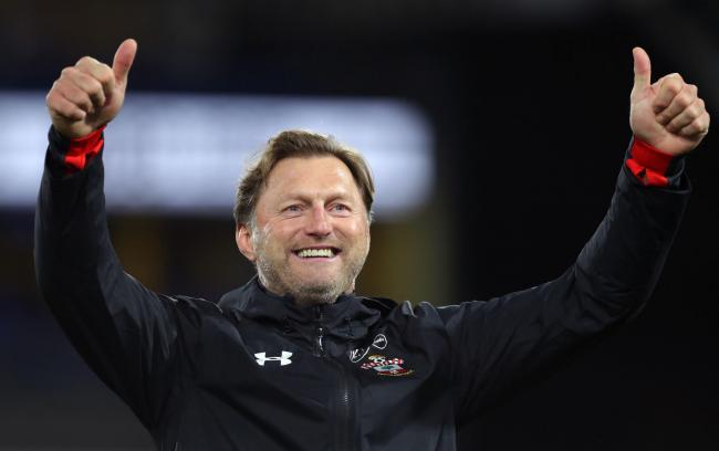 Ralph Hasenhuttl celebrates with Saints fans