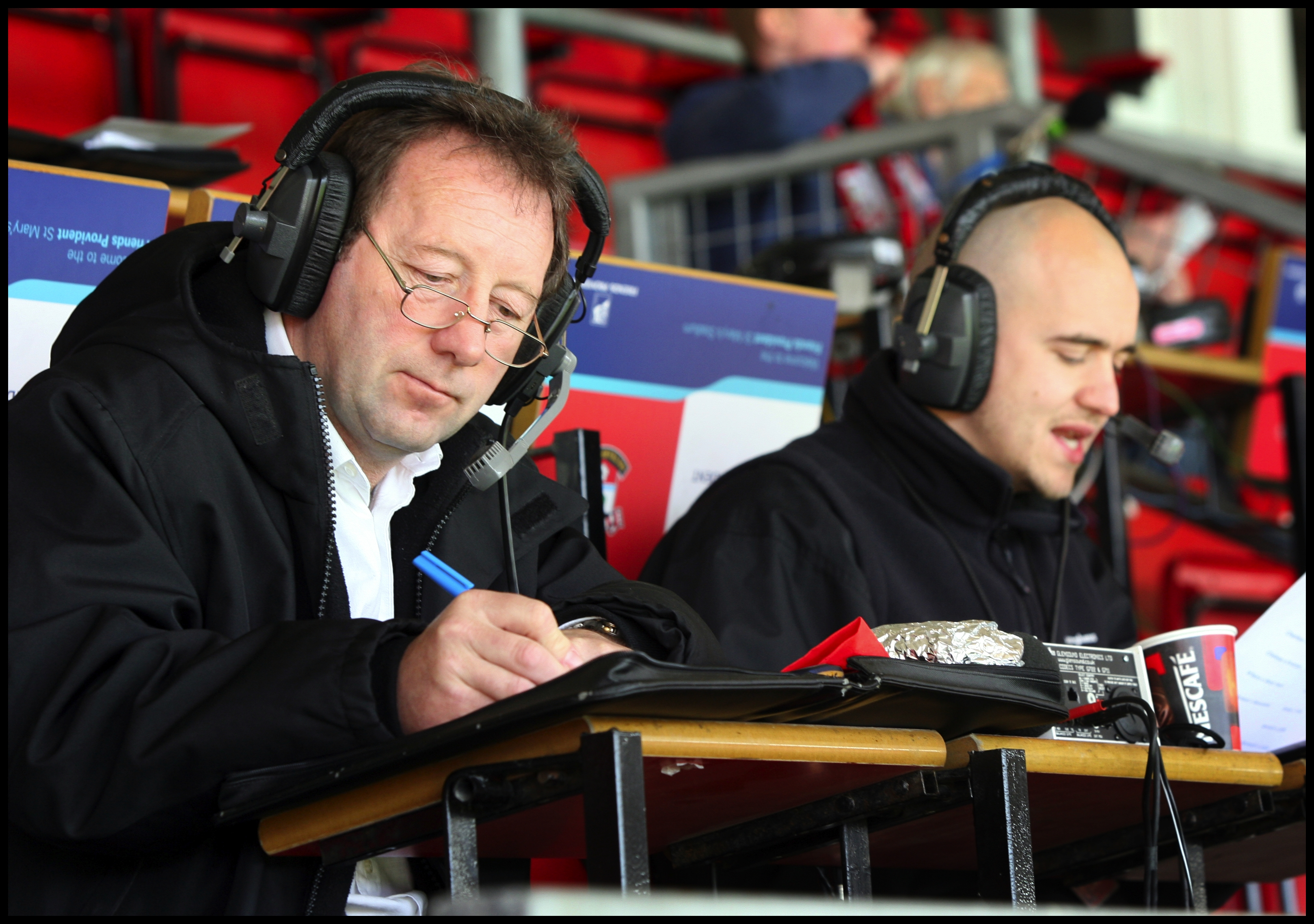 Jimmy Case and Will Cope, who commentated on Saints games for Radio Hampshire