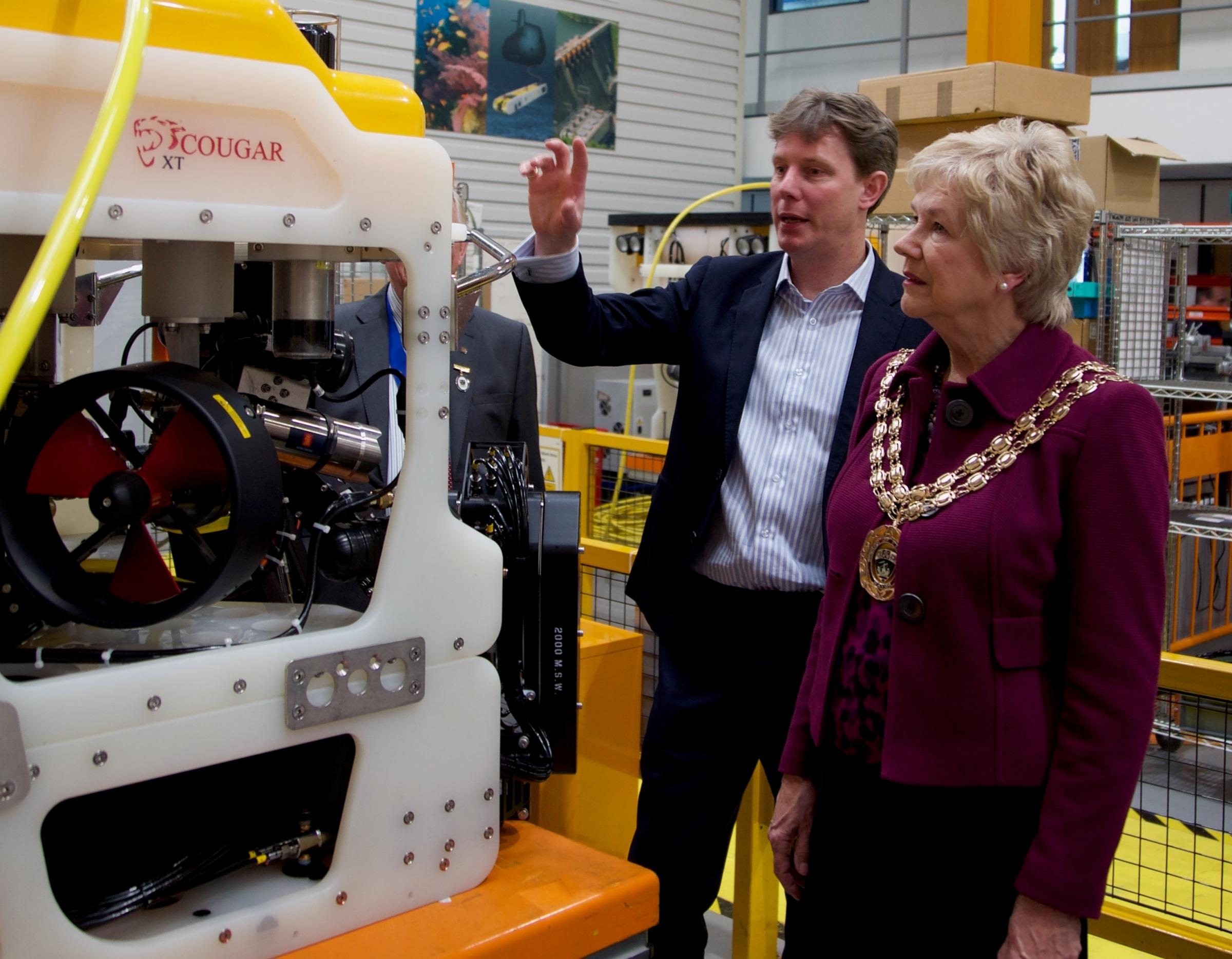 Fareham mayor Susan Bayford visits underwater vehicle manufacturers Saab Seaeye