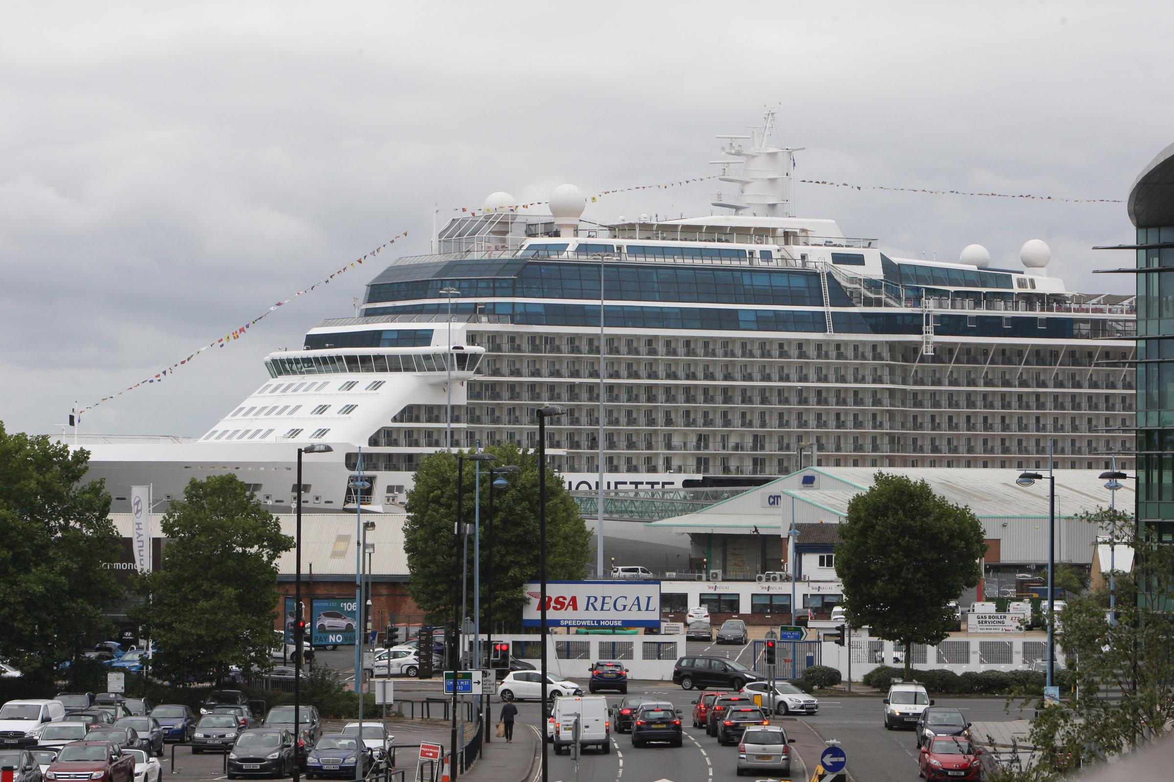 A cruise ship in the Port of Southampton.