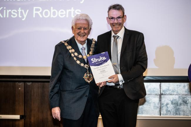 Stroke survivor Liam Stapleton presented with The Stroke Association's Life After Stroke Award