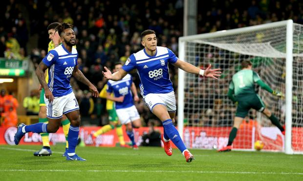 Daily Echo: Che Adams in action for Birmingham