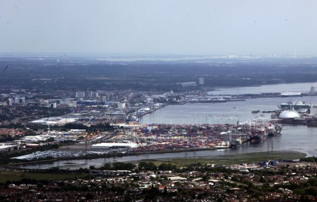 Aerial eye in the sky pictures around Hampshire, Monday 11th July 2011. Southampton Docks and Container Port..