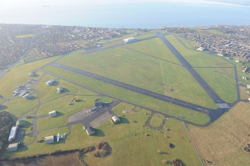 .ESairfield People can now see a pilots� eye view of the newly improved 1,300 runway at Daedalus, thanks to footage captured by a drone mounted camera. ..