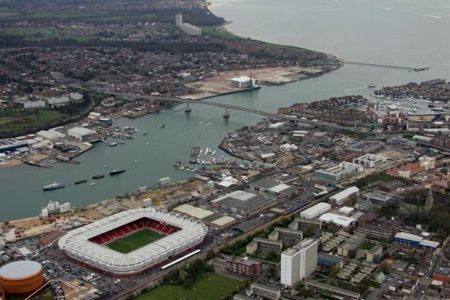 Aerial eye in the sky pics - Southampton - Itchen Bridge - former vosper thornycroft site - St Marys Stadium.