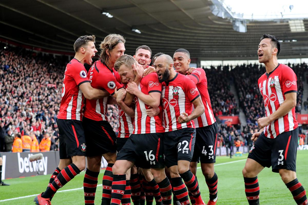 Saints celebrate against Tottenham