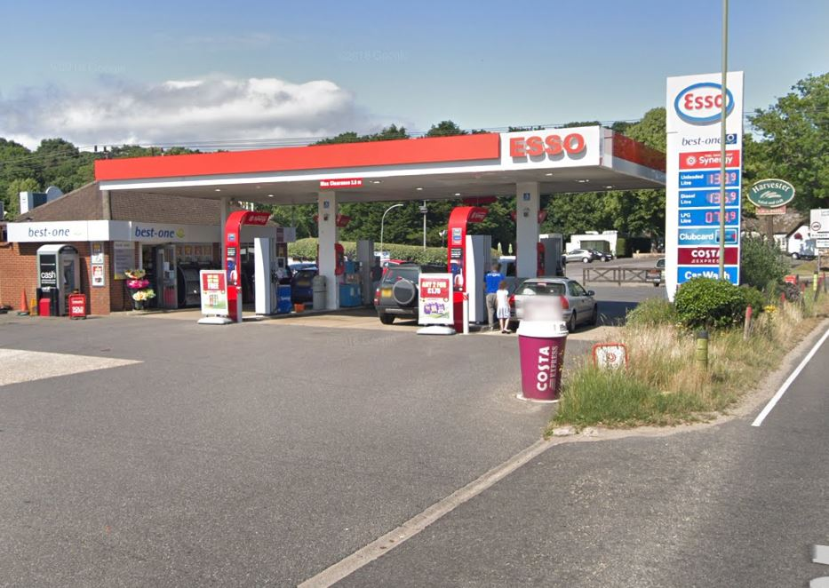 Hinton Petrol Station on the A35. Google Street View.