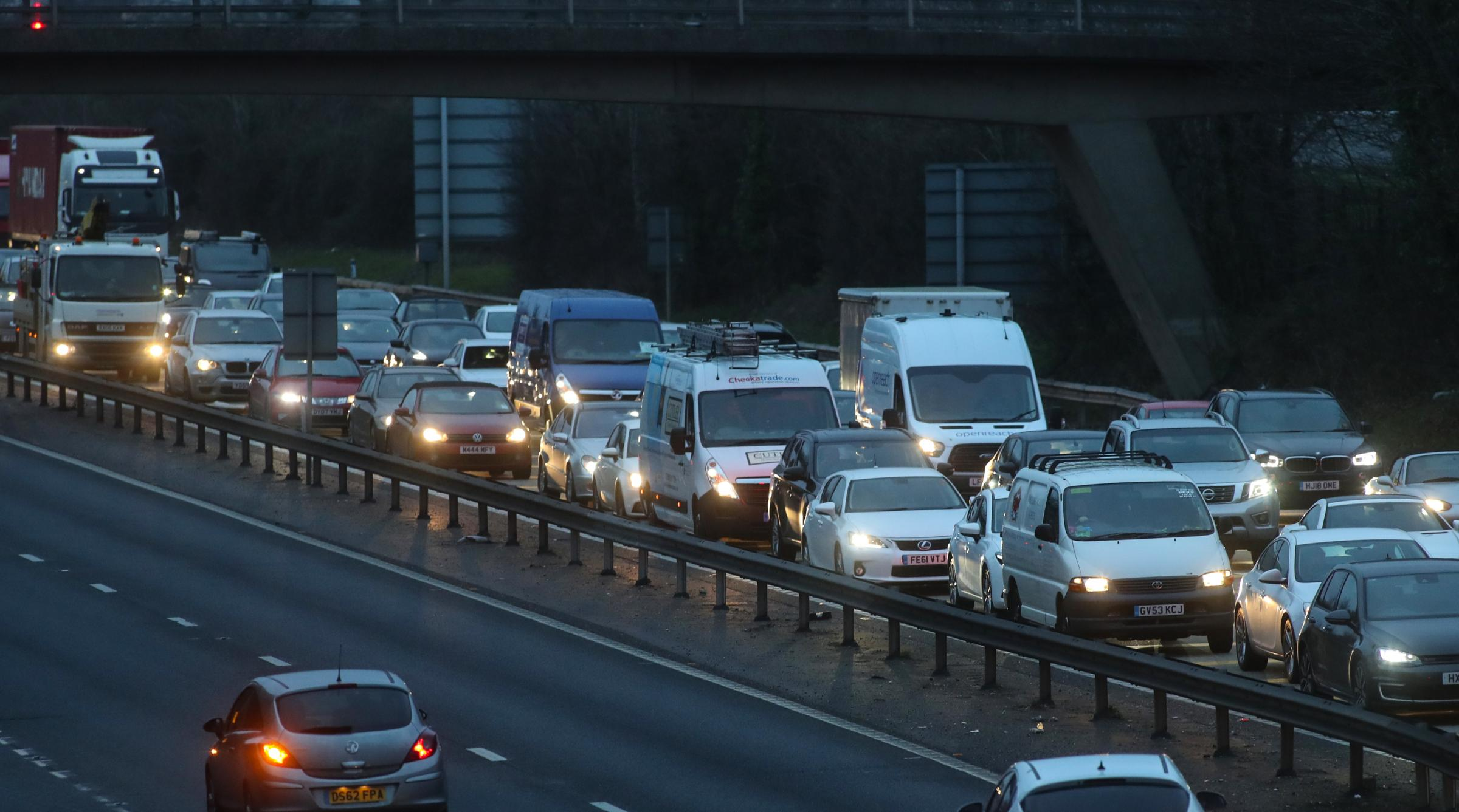 Traffic queues as work continues on the Millbrook Roundabout - Traffic on M271.