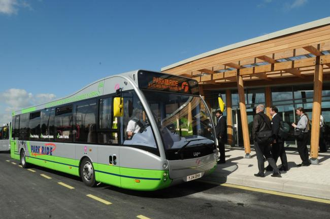 One of the new electric buses at the new Askham Bar Park and Ride site. Picture : Garry Atkinson.