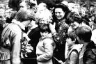 Lady Diana meets and greets the crowd at Broadlands. Prince Charles and Lady Diana at Broadlands. 9th May 1981. THE SOUTHERN DAILY ECHO ARCHIVES. HAMPSHIRE HERITAGE SUPPLEMENT. Ref: 1165h