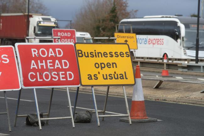 Traffic queues as work continues on the Millbrook Roundabout.