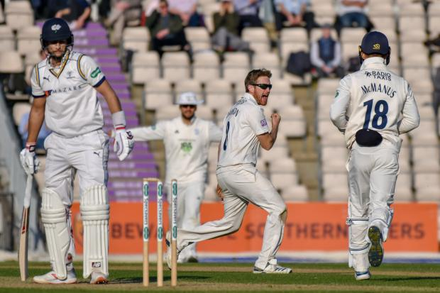 Daily Echo: Liam Dawson celebrates the scalp of Joe Root (Photo by Michael Berkeley)