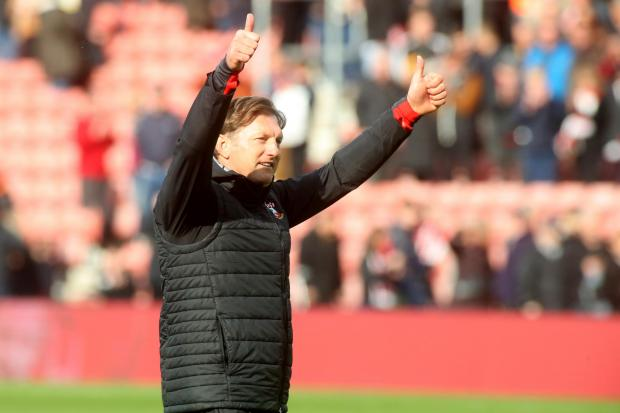 Daily Echo: Ralph Hasenhuttl salutes the Saints fans after the win yesterday