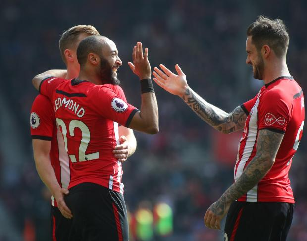 Daily Echo: Redmond celebrates with Danny Ings and James Ward-Prowse