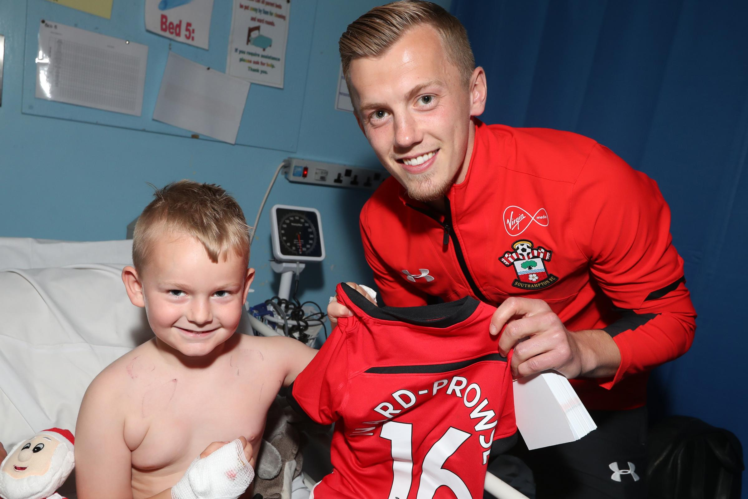 PHOTOS: Saints stars put smiles on the faces of young fans at Southampton General Hospital