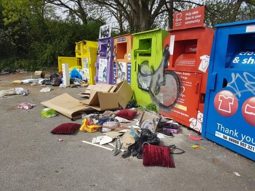 The rubbish was dumped at a carpark on Woodmill Lane.