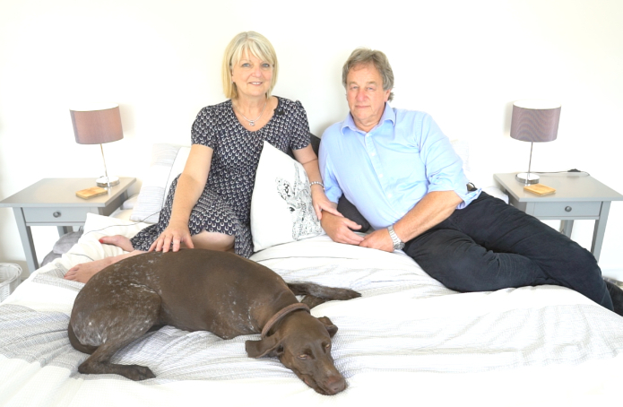 PillowShelf  inventors Martin and Kris Andrew from Ringwood with their pet dog Shine