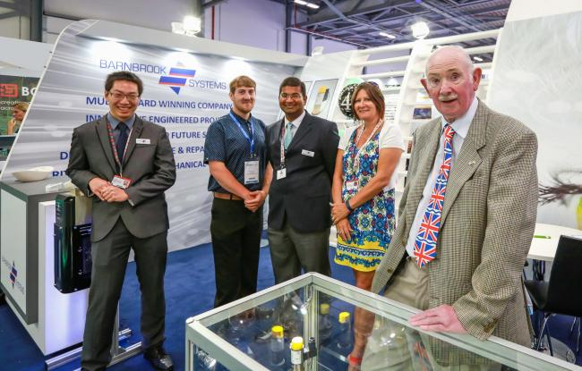 Barnbook Systems Ltd's exhibition team. From left, graduate engineer Lee Wei Jack, apprentice Shane Hutton, quality manager Vic Gunesekaran, head of administration Jane Hughes and managing director Tony Barnett..