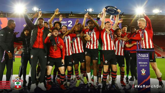 Saints U23s celebrate promotion (Pic:Southampton FC)