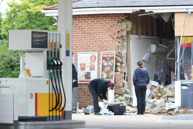 Ram raiders smashed their way into the Shell garage and Budgens on the A338 Salisbury Road near Ringwood