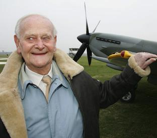 2ff32a45f3 Dr Gordon Mitchell son of R.J. Mitchell with the plane his father designed