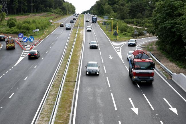 Drivers heading into Bournemouth on the morning that the A338 Bournemouth Spur Road returned to two lanes after months of long delays.