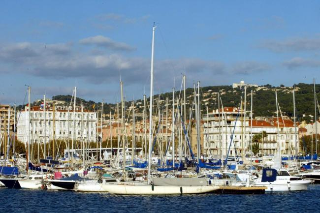 General viewof Cannes harbour, South of France