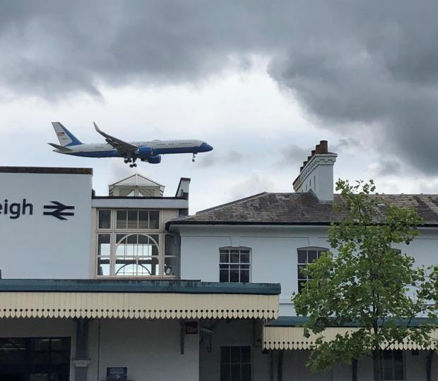 VIDEO: Air Force One touches down at Southampton Airport as Donald