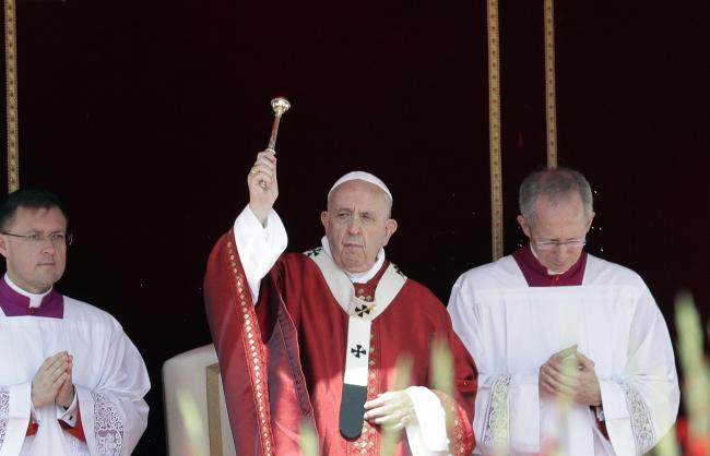 Pope Francis celebrates a Pentecost Mass in St. Peter's Square, at the Vatican, Sunday, June 9, 2019. The Pentecost Mass is celebrated on the seventh Sunday after Easter. (AP Photo/Gregorio Borgia).