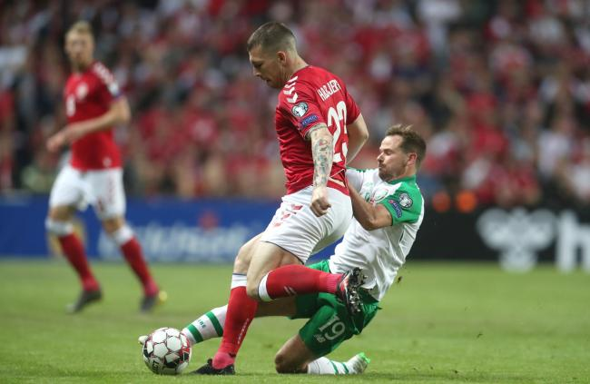 Denmark's Pierre Hojbjerg (front) and Republic of Ireland's Alan Judge battle for the ball during the UEFA Euro 2020 Qualifying, Group D match at Telia Parken, Copenhagen. PRESS ASSOCIATION Photo. Picture date: Friday June 7, 2019. See PA story S