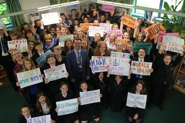 Staff and pupils at The Burgate School and Sixth-Form in Fordingbridge celebrate the Ofsted report.